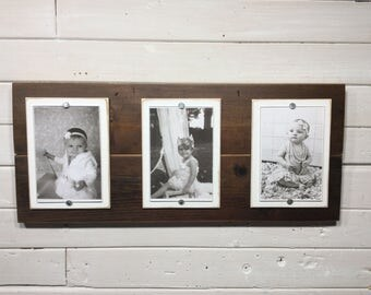 Barnwood picture frame triple 4x6 white mats