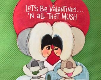 Vintage Valentine Card Inuit/Eskimo/ Yupik / igloo/ 80s/ winter Eskimo kisses
