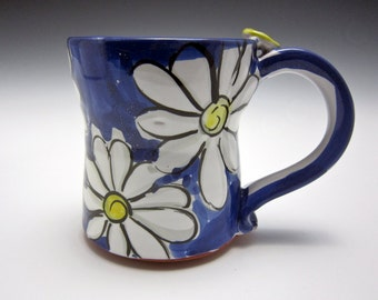 Medium Pottery Coffee Mug - Ceramic Coffee Mug - Clay Mug - Gift for Her - Tea Cup - White Daisy Flower - Majolica Mug - Blue - 12 ounce