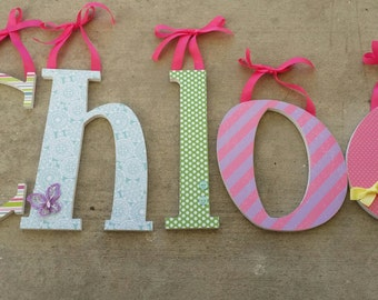 Girly and Fun Theme, Multicolor Nursery Decor,Baby Girl Wooden Letters for Nursery, Pink and Lavender, Butterflies, Blue Green and Yellow