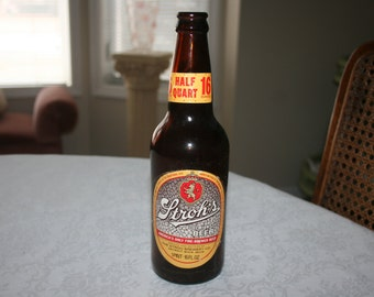 Vintage Stroh's Bohemian Bottle Beer 16 ounces Half Quart 1 Pint Stroh Brewery Company Detroit, Michigan