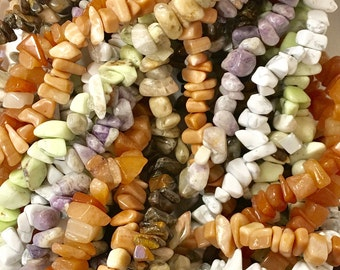 Mixed Stone Chips, 7 Strands of Stone Chip Beads, Mixed Lot of Stone Chip Beads, Stone Chip Assortment, Destash, mix2