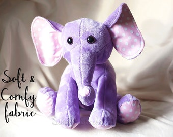 "CUSTOM LARGE 14.5"" Ellie the Elephant Stuffed Animal - Stuffed Elephant - Toys - Stuffed Animals - Elephant Softie"