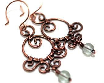 Ornamental Earrings, Wire Wrapped Jewelry, Light Blue Glass, Antiqued Copper, Handcrafted Earrings