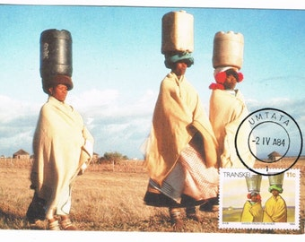 4 Vintage Costume Postcards - Transkei - South Africa - Xhosa people - Traditional Costumes - Folk Jewelry