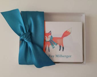 Personalized Stationery Gift Set with a Wintry Fox Woodland Creature and Name Set of 12 Note Cards with Envelopes in Gift Box