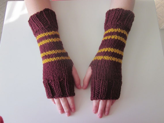 Harry Potter Hand Knit Fingerless Mittens/Gloves - Double Stripe Gryffindor Wrist Warmers- One Size Fits All