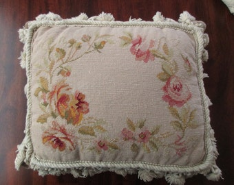 needlepoint PILLOW - floral, pink, roses, flowers, tassels, petit point