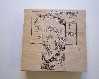 rubber stamp - CRANE KIMONO - JudiKins - rubber stamp destash