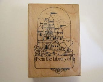 vintage rubber stamp - CASTLE bookplate stamp, 1987 - from the library of, book plate, Hero Arts, fantasy