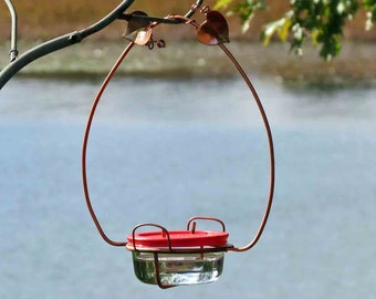 Hummingbird Feeder, Large Dual Port, Copper Garden Art, Glass Hummingbird Feeder, Unique Bird Feeder, Copper Bird Feeder, Garden Decor
