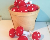 ON SALE Whimsical Red Felt Mushrooms- set of 4