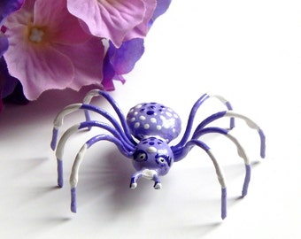 Pretty Little Purple and White Metal Spider Pendant Wall Hanging or Ornament Unique One of a Kind Spider Collector Item Sweet Gift