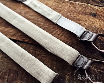 f l a x . linen | leather button-on suspenders
