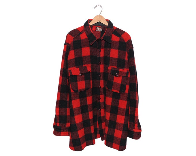 Vintage Woolrich Red & Black Buffalo Checkered Wool Flannel Button Up Shirt - XXL (os-bds-6)