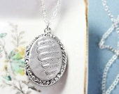 RESERVED Antique Sterling Silver Locket Necklace, Hand Engraved Rare Pattern with Fancy Border 1915 Hallmarks - Old English