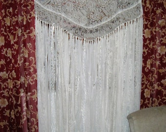 Snow White Tatter Curtain, Backdrop, Lace and Organza Tied to a Ready-Made Valence, 50 x 80 Inches