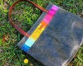 Alison Glass Seventy Six and Insignia Patchwork Rainbow Tote with distressed vinyl body and genuine leather straps