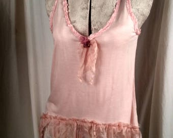 Bit of Blush Flowing Tank Flapper Girl Look Soft Pink with  Silk Chiffon Ruffled Trim