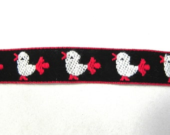 Vintage Red and Black Embroidered Chick Ribbon /Easter Chick Jacquard Ribbon Yardage