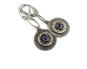 Silver retro earring, circle earring, etched silver, amethyst jewelry