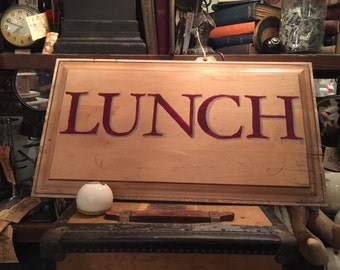 "Lunch Sign / Hand Painted Wooden Sign / Pine / Distressed / Chippy / 26"" X 14.5"""