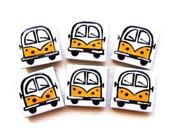 Campervan Magnet Yellow, Combi Magnet, Splitscreen, Wedding Favours, Fridge Magnet, Refrigerator Magnet