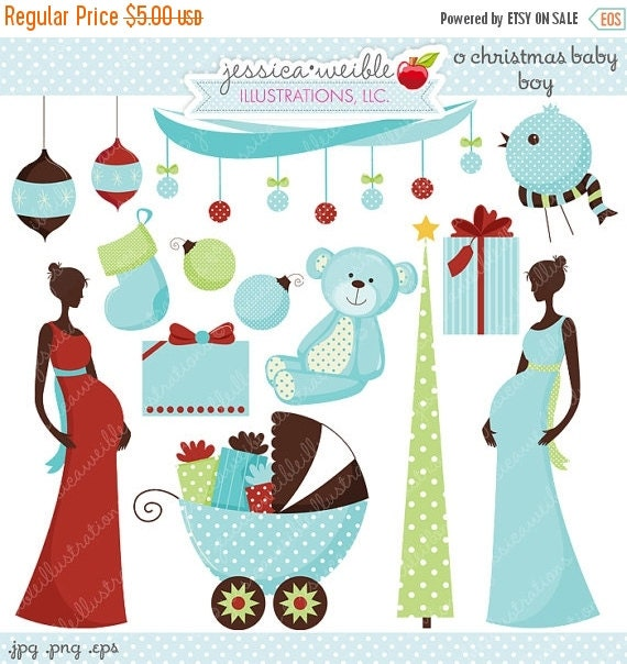 ON SALE O Christmas Baby Boy Cute Digital Clipart - Commercial Use Ok - Christmas Clipart, Christmas Graphics, Christmas Baby