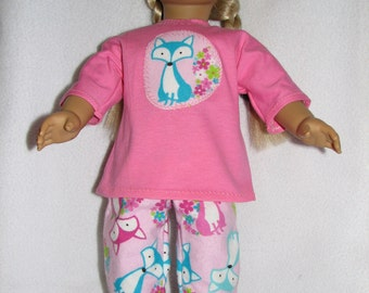 "18"" Doll  Pajamas & Sliipers - fox print"