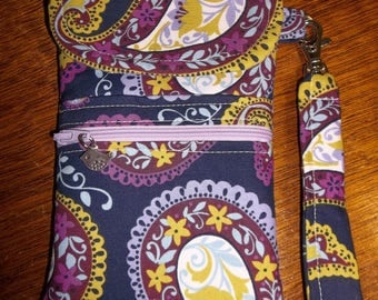 Navy and Lavender Cell Phone Case/Wristlet