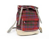 70s Plaid Bookbag | Red Plaid & Grey Leather Backpack