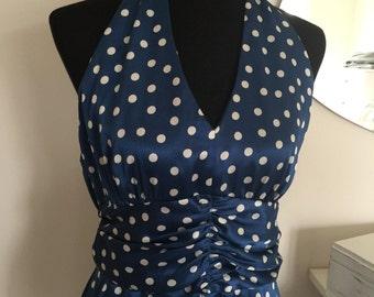 vintage navy blue polka dot dress / pin up / marilyn vlv rockabilly / halter dress summer 1950s 50s 60s 1960s /satin wedding