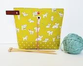 Lambs on Citron, Yarn Project Bag, Knitting Bag, Sock Bag, Sock Project Bag, Hat Project Bag, Leather Handle