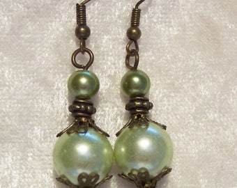 Green Earrings, Pale Green Glass Pearl Earrings, Bronze Earrings, Dangle Earrings, Victorian Style Earrings