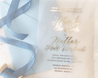 Jacq Invitation Suite | Translucent Vellum with Gold Foil  {customizable}