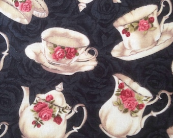 Old Country Roses English Tea Teacup Teapot Cotton Quilting Fabric