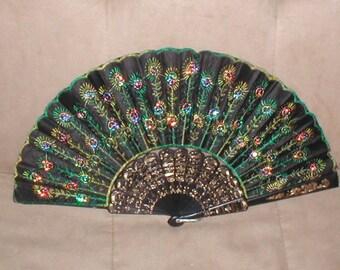 Vintage Beaded Folding Fan