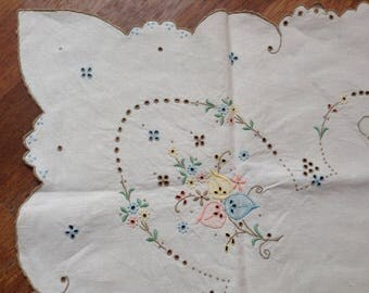Vintage Tablecloth Hand Embroidered Colourful Pattern