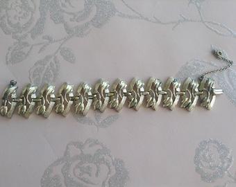 Vintage Bracelet, Jewelcraft, Gold Tone, Wide Band, Linked Style, 1960s