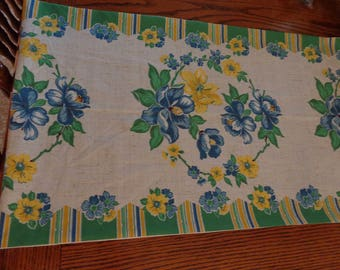 Farmhouse Table Runner, Blue Yellow, Retro, Vintage Look