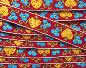 3 3/4 yards Swedish Hearts Jacquard Trim. Yellow Hearts and Blue Forget-me-not flowers on Red Background. Ribbon Edging