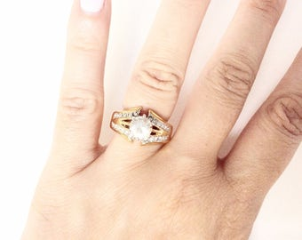 Cocktail ring Rhinestones solitaire and pave ring size 8.5 gold tone vintage
