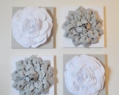 """SALE Wall Decor -SET OF Four Gray and White Flower Wall Hangings 12 x12"""" Canvases Flower Wall Art-"""