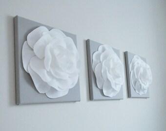 White Gray Wall Art, Bedroom Canvas Prints Bathroom Artwork, Bedroom Pictures, Flower Wall Art, Pictures, Flower Burst Rose Set of 3 Nursery