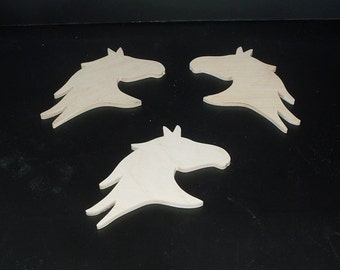 3 Horse Head Cutouts H-2-.25 Unfinished Wood