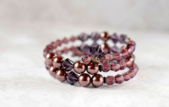 Eggplant Purple Pearl Bracelet Dark Purple Bracelet Memory Wire Cuff Bracelet Amethyst Bracelet Crystal Bracelet Bridesmaid Bridal Jewelry