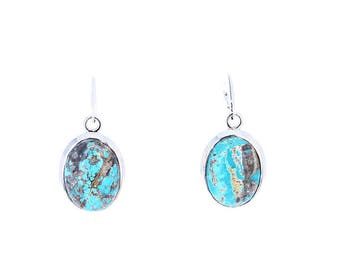 CARICO LAKE TURQUOISE Earrings Bright Blue Ovals Sterling NewWorldGems