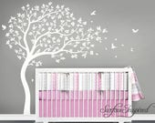 Nursery Wall Decals White Tree Wall Decal Large Tree wall decal Wall Mural Stickers Nursery Tree and Birds Wall Art Nature Wall Decals Decor
