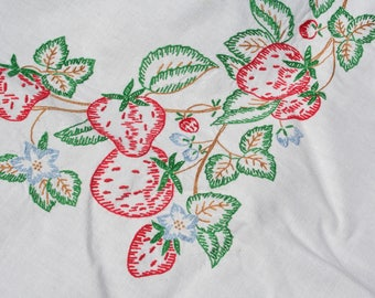 Vintage Strawberry Tablecloth Embroidered Strawberries 50 x 52