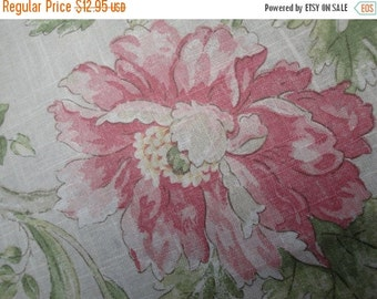 """2016 SALE 54"""" Wide Linen Screen Print Braemore Home Decorator Fabric Floral Pattern Linen Fabric Yardage Curtain Drapery Made in USA RL"""